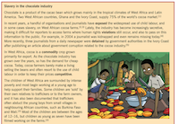 Textbook containing extracts from Slavery in the Chocolate Industry